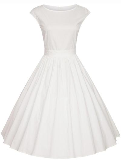 Minimalist 1950S Solid Color Cap Sleeve Swing Dress