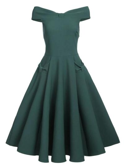 Pretty Elegant 1950S Solid Color Satin Bow Off Shoulder Swing Dress