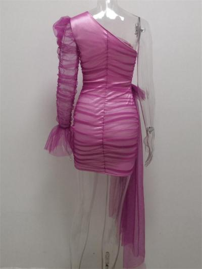 Stunning One-shoulder Mesh Puff Sleeve Mini Dress For Party