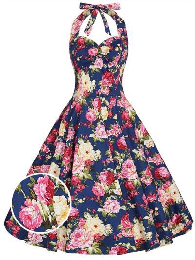 Blue 1950S Floral Halter Swing Midi Dress