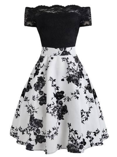 1950S Floral Off Shoulder Lace Swing Midi Dress