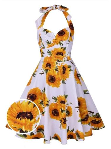 White And Yellow 1950S Sunflower Halter Lace-up Back Swing Dress