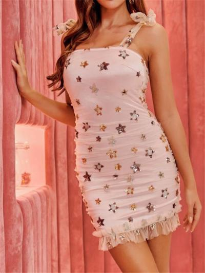 Sweet Star Sequins Sleeveless Lace Bow Shoulder Mini Dress