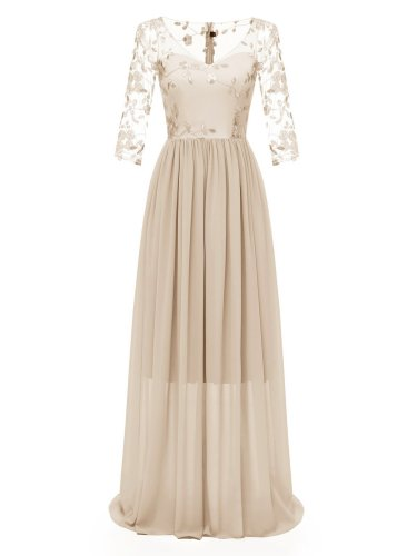 1950s Lace Embroidery Chiffon Maxi Dress