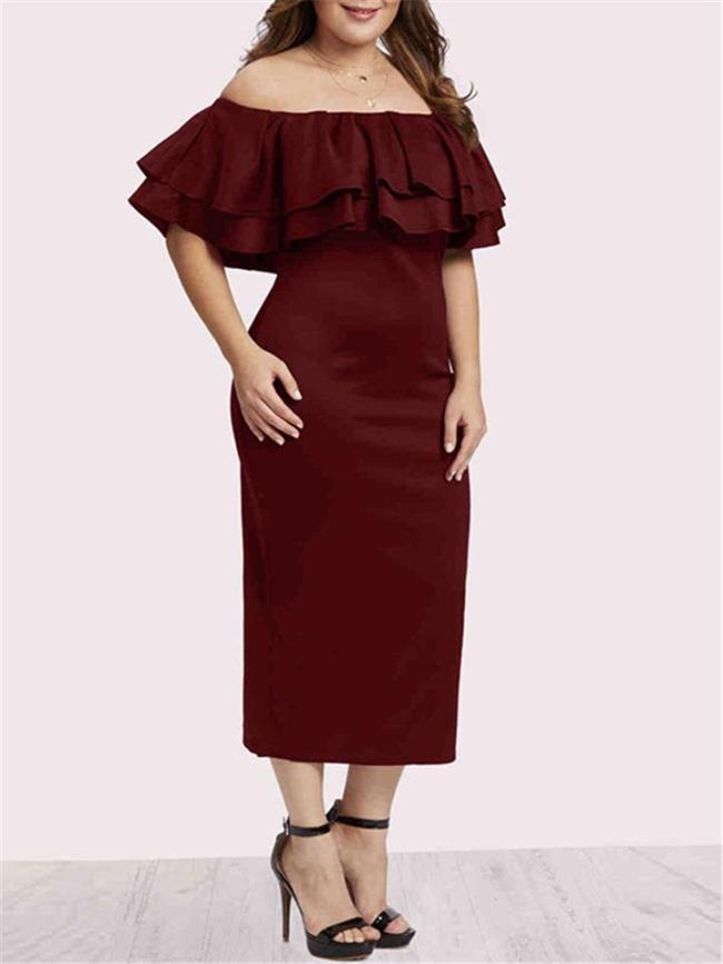 Plus Size Minimalist Solid Color Ruffles Off Shoulder Bodycon Dress