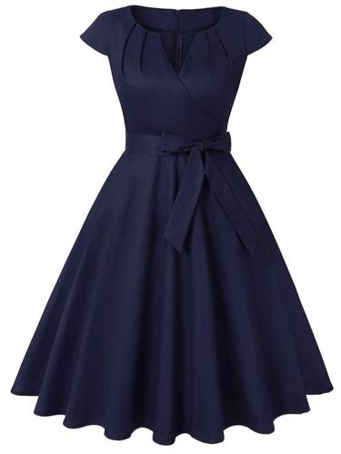 Solid Color 1950S Cap Sleeve Bow Belted Swing Dress