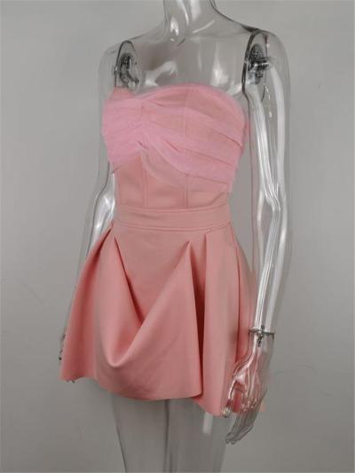 Pink Sexy Strapless Bodice Backless Irregular Princess Dress