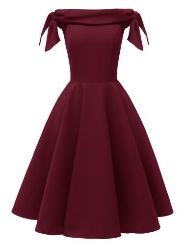 1950S Off Shoulder Bow Satin Midi Dress