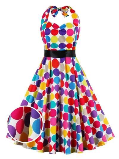 Multicolor 1950S Dot Halter Bow Belted Swing Dress