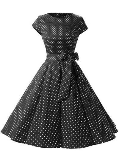 1950S Lovely Polka Dot Cap Sleeve Swing Dress
