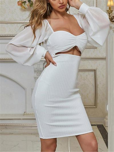 White Charm Knotted Front Long Sleeve Bodycon Dress