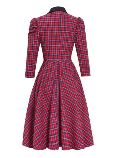 Red 1950S Elegant Plaid 3/4 Puff Sleeve Turndown Collar Swing Dress