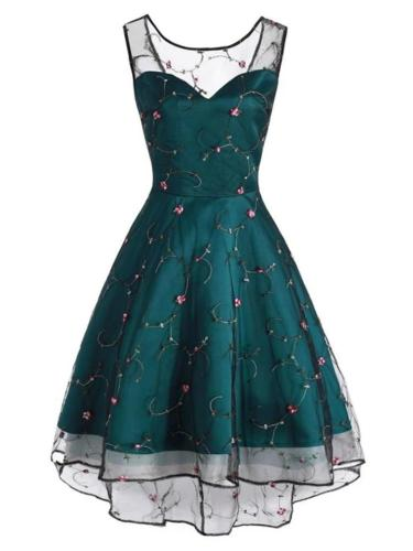 1950S Mesh Embroidery Floral Sleeveless High-Low Back Lace-up Dress