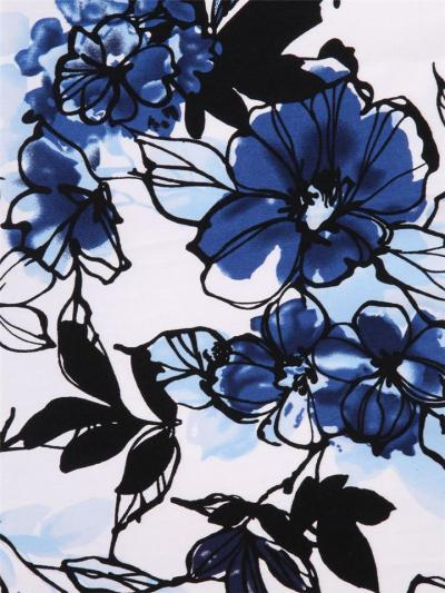 1950S Nature Scene Print Patchwork Half Sleeve Swing Dress