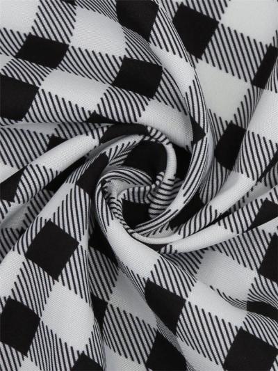 Black And White 1950S Classic Plaid Turndown Collar Swing Dress