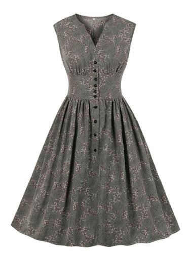 1950S Vintage Floral Sleeveless Button A-Line Dress