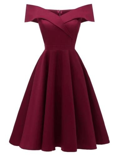 1950S Sexy Off Shoulder Swing Midi Dress