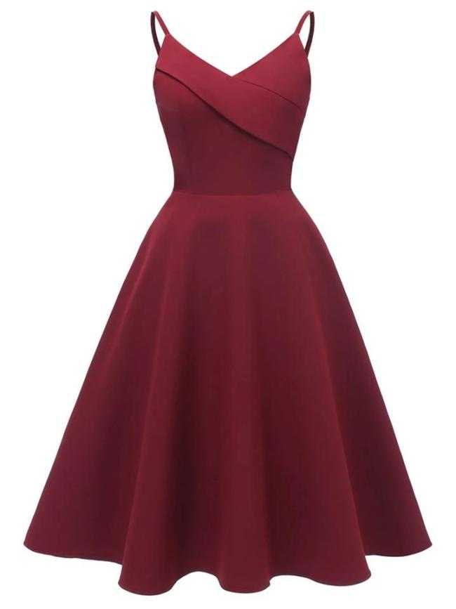 1950S Decent Solid Color V Neck Strap Swing Dress