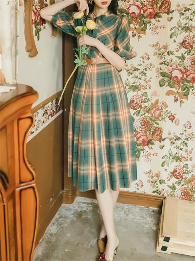 Green 1950S Plaid Lace-up Bowknot Collar Lantern Sleeve Dress