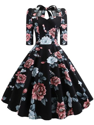 3/4 Sleeve 1950S Floral Lace-Up Swing Dress