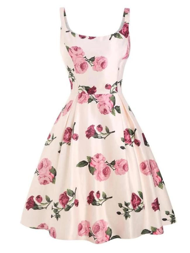 Pink 1950S Romantic Rose Floral Swing Dress