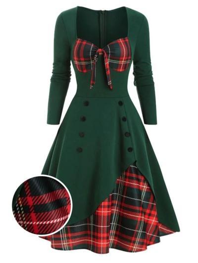 1950S Sweetheart Plaid Patchwork Long Sleeve Dress