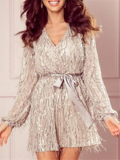 Champagne Shiny Sequin Fringed V Neck Dress For Party