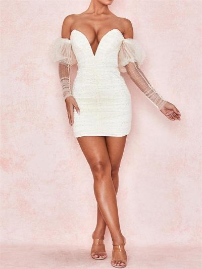 Sexy Sequin White Mesh Deep V Off Shoulder Puffed-Sleeve Ruched Mini Dress