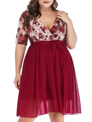 Plus Size Chiffon Patchwork Printed Floral Lace VNeck ShortSleeve Dress