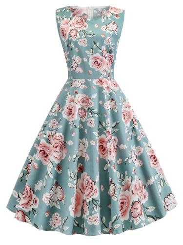 Bewitching 1950S Floral Sleeveless Swing Dress