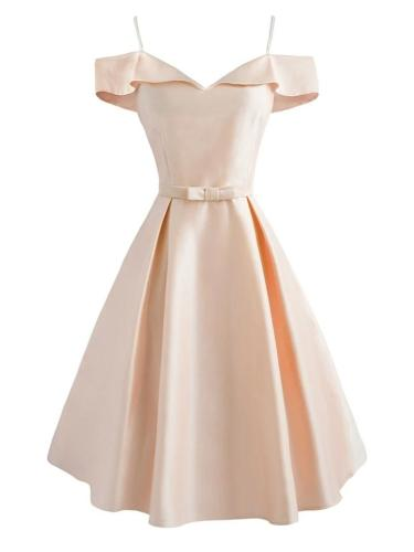 1950S Cold Shoulder Bow Satin Strap Dress