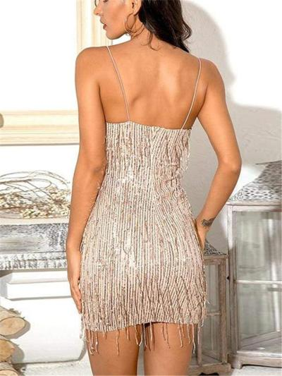 Dazzling Sequins Fringed Spaghetti Strap Mini Bodycon Dress For CocktailParty