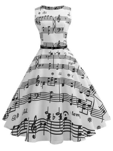Elegant 1950s Black White Music Note Swing Dress