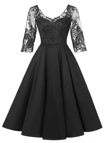 1950S Satin Lace Patchwork Half Sleeve V Back Swing Dress