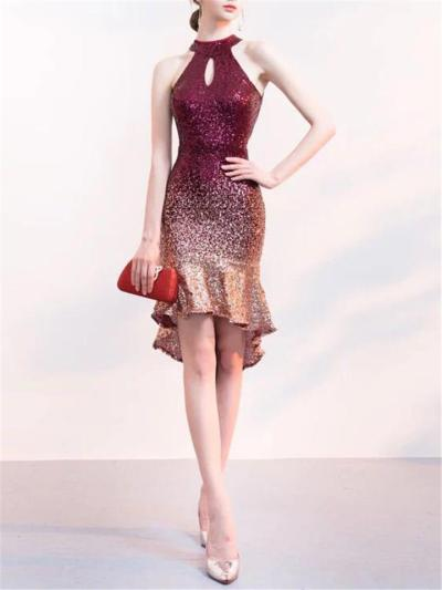 Shimmering Sequin Mermaid Hem Sheath Dress For Cocktail Party