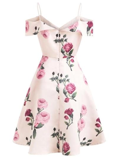 Pink 1950S Lovely Floral Spaghetti Strap Dress