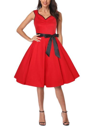 Solid Color 1950S SweetheartSleeveless Bow Swing Dress