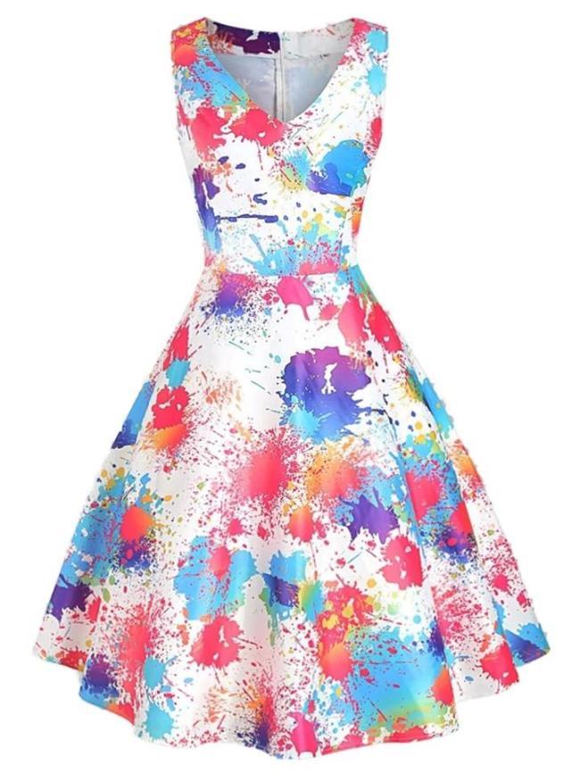 1950S Dyeing Sleeveless V Neck Swing Dress