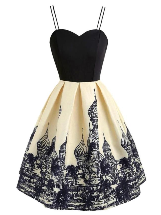 Black 1950S Russian Architecture Spaghetti Strap Swing Dress