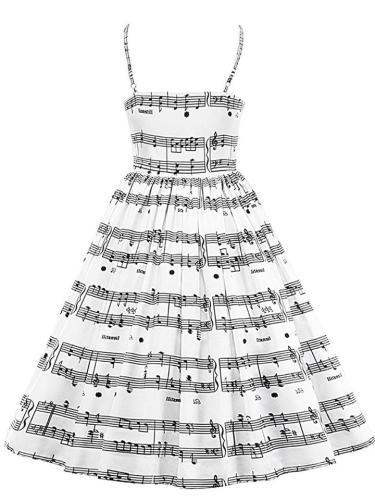 White And Black 1950S Music Note Spaghetti Strap Swing Dress