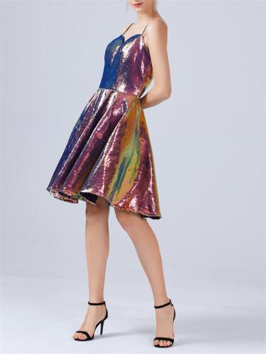 Sequins Dizzy Glitter Spaghetti Strap A-Line Swing Dress