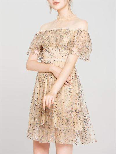 Party Charm Star Apricot Sequin Mesh Mini Dress