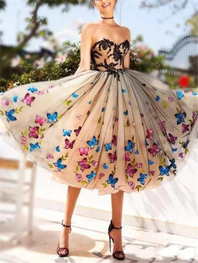 Colorful Appliques Butterfly Sweetheart Lace Backless Cocktail Dresses For Prom