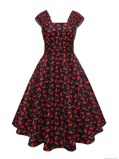 1950S Floral Cherries Print Square Neck Swing Dress