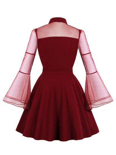1950S Trumpet Sleeve Patchwork Swing Dress For Halloween Costume Party