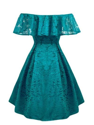 Elegant 1950S Classical Off Shoulder Lace Ruffle Dress