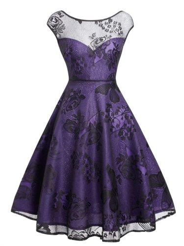 Purple 1950S Feminine Lace Mesh Floral Dress