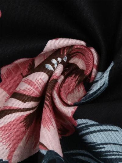 Black 1950S Lace Patchwork Floral A-Line Dress
