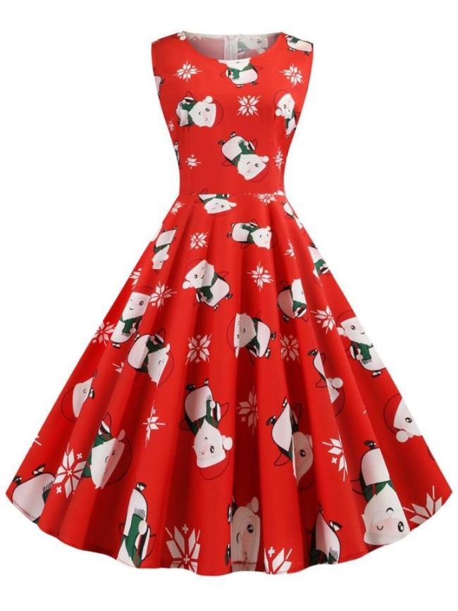 1950S Lovely Santa Claus Christmas Swing Dress