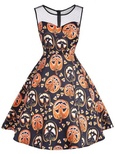 1950S Halloween Patchwork Sleeveless Midi Dress